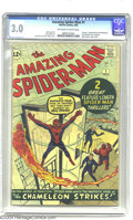 Silver Age (1956-1969):Superhero, Amazing Spider-Man #1 (Marvel, 1963) CGC GD/VG 3.0 Off-white to white pages. The Fantastic Four may not have suspected Spide...