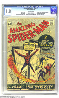 Amazing Spider-Man #1 (Marvel, 1963) CGC GD- 1.8 Off-white pages. A key Silver Age Marvel comic, featuring the first app...