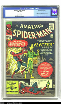 Amazing Spider-Man #9 (Marvel, 1964) CGC NM 9.4 Off-white pages. One of Spidey's main foes, Electro, makes his first app...