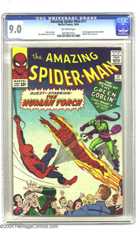 Amazing Spider-Man #17 (Marvel, 1964) CGC VF/NM 9.0 Off-white pages. All-time great villain the Green Goblin is back wit...