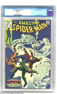 Amazing Spider-Man #74 (Marvel, 1969) CGC NM 9.4 Off-white pages. This attractive issue features art by John Romita Sr...