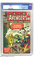 Silver Age (1956-1969):Superhero, The Avengers #1 (Marvel, 1963) CGC VF 8.0 Cream to off-white pages. Iron Man, the Hulk, Thor, Ant-Man, and the Wasp are now ...