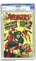Silver Age (1956-1969):Superhero, The Avengers #4 (Marvel, 1964) CGC NM- 9.2 Cream to off-white pages. More than two decades after Jack Kirby created the most...