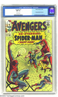 Silver Age (1956-1969):Superhero, The Avengers #11 (Marvel, 1964) CGC NM 9.4 Off-white pages. This issue features an early Spider-Man crossover, illustrated b...
