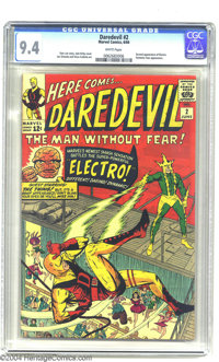 Daredevil #2 (Marvel, 1964) CGC NM 9.4 White pages. Stan Lee was known for giving fledgling titles a helping hand by gue...