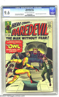 Silver Age (1956-1969):Superhero, Daredevil #3 (Marvel, 1964) CGC NM+ 9.6 Off-white to white pages.Making his dastardly debut in this issue is the Owl, a cri...