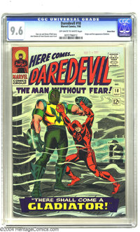 Daredevil #18 Green River pedigree (Marvel, 1966) CGC NM+ 9.6 Off-white to white pages. The Gladiator makes his first ap...