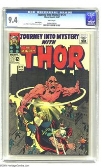 Journey into Mystery #121 (Marvel, 1965) CGC NM 9.4 White pages. Great action-packed cover with the Absorbing man smacki...
