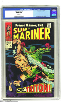 The Sub-Mariner #2 (Marvel, 1968) CGC NM/MT 9.8 White pages. This issue features Subby battling it out with the Triton...
