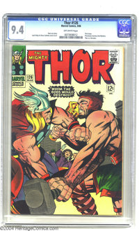 Thor #126 (Marvel, 1966) CGC NM 9.4 Off-white pages. This was the series' first issue, with the numbering picking up whe...