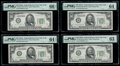 Small Size:Federal Reserve Notes, Fr. 2103-B $50 1934A Federal Reserve Notes. Four Examples. PMG Graded. . ... (Total: 4 notes)