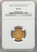 1843-O $2 1/2 Small Date, Crosslet 4 AU55 NGC. NGC Census: (172/274). PCGS Population: (46/87). CDN: $700 Whsle. Bid for...