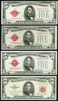 Small Size:Legal Tender Notes, Fr. 1526 $5 1928A Legal Tender Note. Very Fine;. Fr. 1528 $5 1928C Legal Tender Note. Choice About Uncirculated;. Fr. ... (Total: 4 notes)