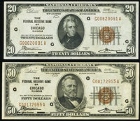 Fr. 1870-G $20 1929 Federal Reserve Bank Note. Very Fine; Fr. 1880-G $50 1929 Federal Reserve Bank Note. About Uncircula...