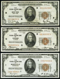 Fr. 1870-B; G; I $20 1929 Federal Reserve Bank Notes. Very Fine or Better. ... (Total: 3 notes)