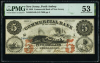 Perth Amboy, NJ- Commercial Bank of New Jersey $5 Sep. 1, 1856 G44b Wait 1972 PMG About Uncirculated 53