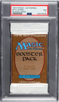 Magic: The Gathering Alpha Edition Sealed Booster Pack (Wizards of the Coast, 1993) PSA NM 7