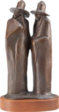 Sculpture, Allan C. Houser (American, 1914-1994). Jicarilla Apaches, 1984. Bronze with brown patina. 9 inches (...