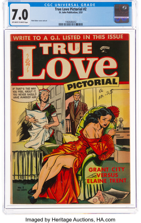 True Love Pictorial #2 (St. John, 1953) CGC FN/VF 7.0 Off-white to white pages....