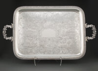 A Large William Gale & Son Coin Silver Two-Handled Tray, New York, 1851 Marks: WM GALE & SON, G&S (oval...