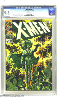 X-Men #50 (Marvel, 1968) CGC NM+ 9.6 White pages. Jim Steranko fans might be surprised to learn that, in addition to man...