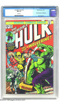 """Bronze Age (1970-1979):Superhero, The Incredible Hulk #181 (Marvel, 1974) CGC NM 9.4 White pages. """"Wolverines are feisty little animals that attack creatures ..."""