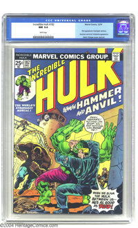 The Incredible Hulk #182 (Marvel, 1974) CGC NM 9.4 White pages. The cover promotes the Hulk's battle with Hammer and Anv...
