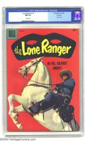 Silver Age (1956-1969):Western, The Lone Ranger #112 File Copy (Dell, 1957) CGC NM 9.4 White pages.This eye-catching photo cover has the Lone Ranger astrid...