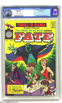 """Thrill-O-Rama #1 Pacific Coast pedigree (Harvey, 1965) CGC NM 9.4 Off-white to white pages. Featuring """"The Man in B..."""