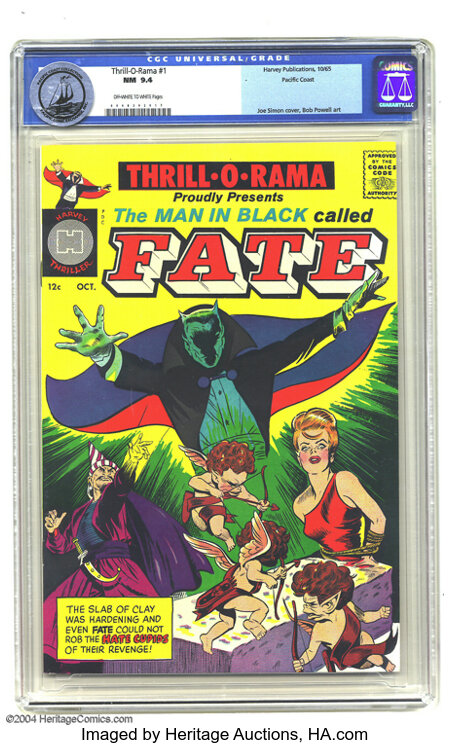 """Thrill-O-Rama #1 Pacific Coast pedigree (Harvey, 1965) CGC NM 9.4 Off-white to white pages. Featuring """"The Man in Black call..."""