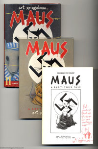 Art Spiegelman Group With Uncorrected Maus Proof Copy (Art Spiegelman, 1986) Average Condition = VF. This outstanding lo...