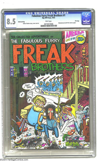 The Fabulous Furry Freak Brothers #1 Fred Todd File Copy (Rip Off Press, 1971) CGC VF+ 8.5 Pink pages. In the early 1970...