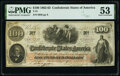 """Confederate Notes:1862 Issues, """"Reissued Houston March 18 1863"""" T41 $100 1862 PMG About Uncirculated 53.. ..."""