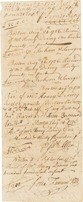 [Peter Faneuil]. 1726 Payment Voucher Featuring the Signatures of Several Prominent Boston Merchants