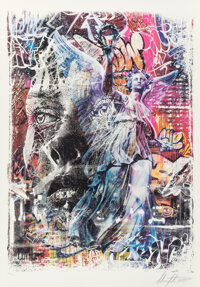 Vhils X PichiAvo Triumph, 2020 Lithograph in colors on BFK Rives paper 39-1/2 x 27-3/4 inches (100.3 x 70.5 cm) (shee