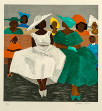 Jonathan Green (American, b. 1955) First Sunday, 1995 Lithograph in colors on Arches paper 19 x 18-1/2 inches (48.3 x