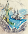Works on Paper, John Marin (American, 1870-1953). Trees, Rocks, and Schooner (Within the Three-Mile Limit), 1921. Wate...