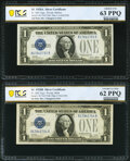 Small Size:Silver Certificates, Fr. 1602/Fr. 1601 $1 1928B/1928A Silver Certificates. Reverse Changeover Pair. PCGS Banknote Graded Uncirculated 62 PPQ; Choic... (Total: 2 notes)