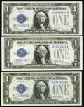 Small Size:Silver Certificates, Fr. 1601 $1 1928A Silver Certificates. Three Examples. Crisp Uncirculated or Better.. ... (Total: 3 notes)