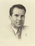 Works on Paper, Norman Rockwell (American, 1894-1978). Portrait of Richard Nixon, The Saturday Evening Post cover study,...