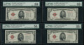 Small Size:Legal Tender Notes, Changeover Pair Fr. 1527 $5 1928B Mule/Mule/Non-Mule/Non-Mule Legal Tender Notes. Four Consecutive Examples. PMG Graded About ... (Total: 4 notes)