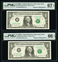 Small Size:Federal Reserve Notes, Repeater Serial Numbers 10801080 and 10811081 Fr. 1930-B $1 2003A Federal Reserve Notes. PMG Superb Gem Unc 67 EPQ; Gem Uncirc... (Total: 2 notes)