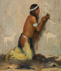 Paintings, Eanger Irving Couse (American, 1866-1936). The Sculptor, 1914. Oil on canvas. 24 x 20 inches (61.0 x...