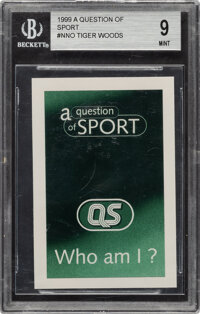 """1999 """"A Question of Sport"""" Tiger Woods Game Card BGS Mint 9"""
