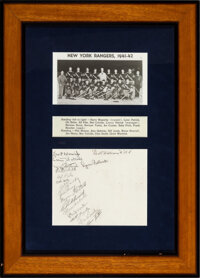 1941-42 New York Rangers Team Signed Display (Signatures on Back of Team Photograph)