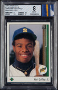 Baseball Cards:Singles (1970-Now), 1989 Upper Deck Ken Griffey Jr. (with a piece of 1989 Game-Used Mariners Jersey Patch) #1 BGS NM-MT 8. ...