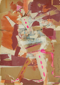 Romare Howard Bearden (American, 1911-1988) Harlequin, Circa 1956 Various papers with paint, ink, and pencil on paper...
