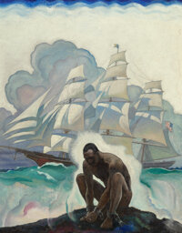 Newell Convers Wyeth (American, 1882-1945) Glory of the Seas, book dust-jacket and title page illustration, 1933 Oil o...