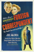 "Movie Posters:Hitchcock, Foreign Correspondent (United Artists, 1940). One Sheet (27"" X 41""). Fourteen scriptwriters spent five years toiling over a ..."