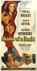 "Movie Posters:Hitchcock, Shadow of a Doubt (Universal, 1943). Three Sheet (41"" X 81""). Whatwould you do if you suspected your own uncle of being a s..."